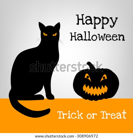 halloween card with black cat and pumpkin - Black Cat Silhouette Halloween