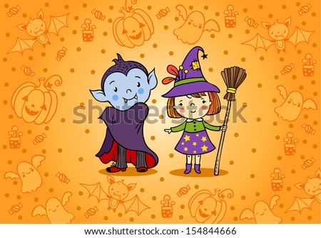 Halloween card with cartoon vampire and witch - stock vector