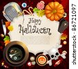 Halloween card with different objects and place for text. Check my portfolio for raster version. - stock vector