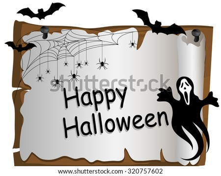 Halloween card with ghost, bats and spider web - stock vector