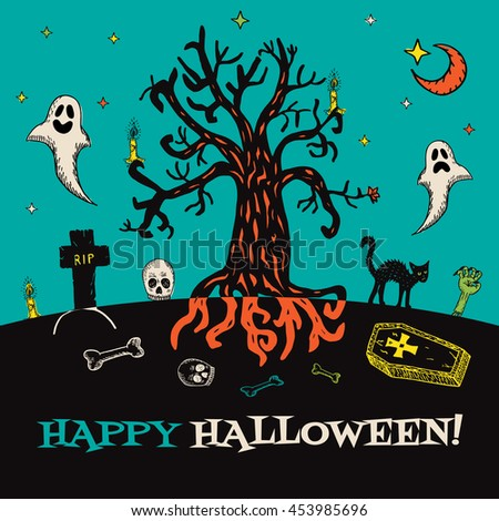 Halloween card with hand drawn cemetery landscape and scary elements on turquoise background. Vector hand drawn illustration. - stock vector