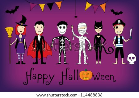 Halloween card with kids in costumes - stock vector