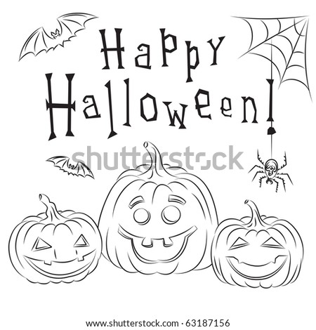 Halloween Card With Pumpkins - stock vector