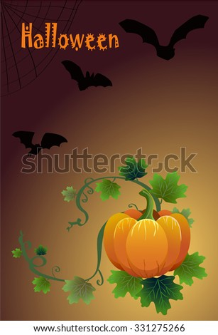 Halloween card with pumpkins and bats drawn vector - stock vector