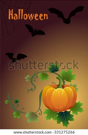 Halloween card with pumpkins and bats drawn vector - stock vector
