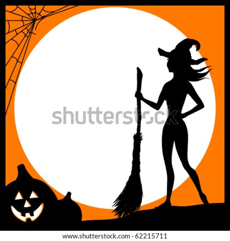 Halloween card with the witch - stock vector