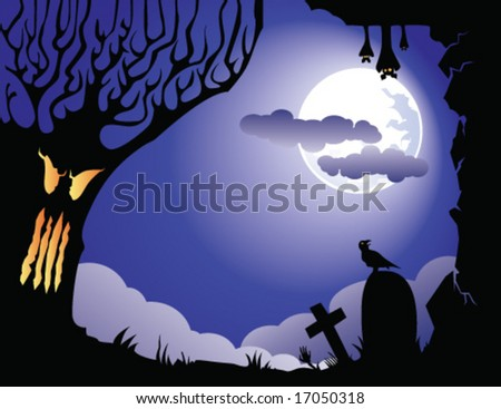 halloween card, with tree, bat, graves and crow. EPS vector illustration