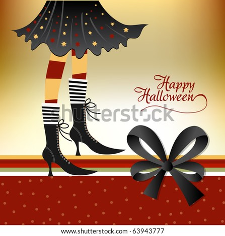 Halloween card with witch - stock vector