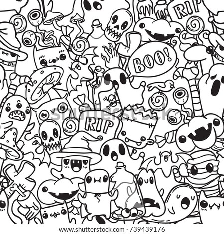 Halloween cartoon hand drawn doodle pattern. Black contour background.