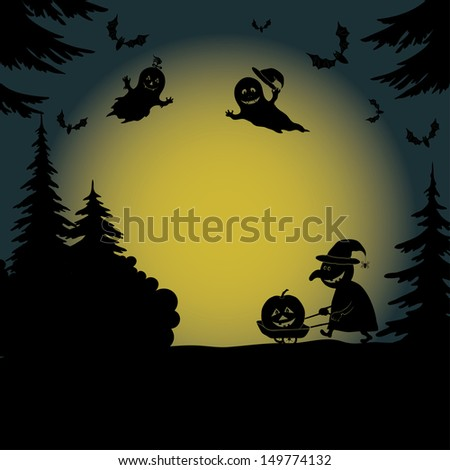 Halloween cartoon landscape with silhouettes of trees, ghosts, a witch with a pumpkin on a cart and bats. Vector