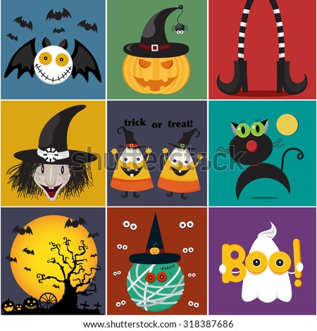 Halloween cartoon set isolated on white background, illustration, vector - stock vector