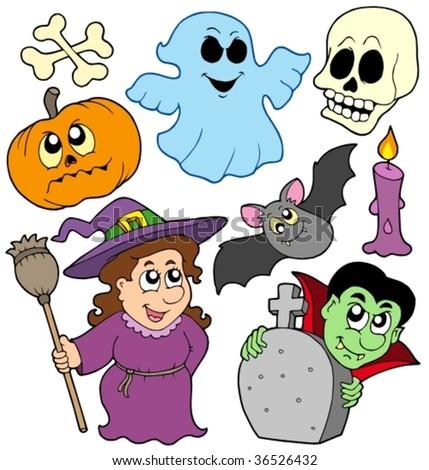Halloween cartoons collection - vector illustration. - stock vector