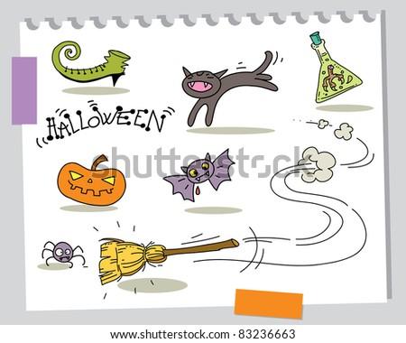 halloween cartoons funny elements set - stock vector