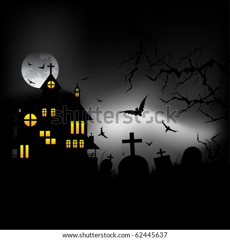 Halloween castle at night - stock vector