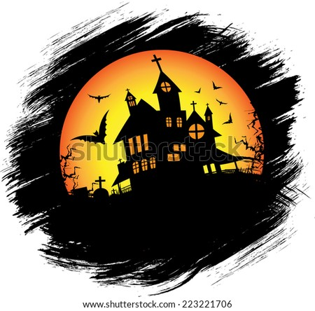 Halloween castle at night with fog. eps10 - stock vector