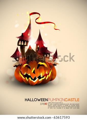 Halloween Castle Grown on a Pumpkin   EPS10 Compatibility Needed - stock vector