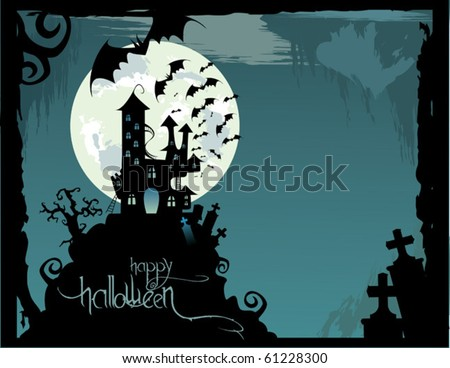 halloween castle illustration with place for text - stock vector