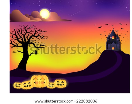Halloween , castle, tree, sunset sky - stock vector