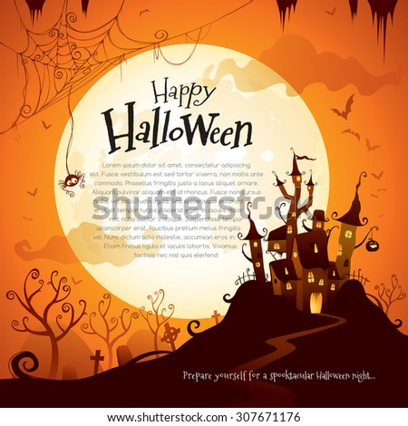 Halloween castle with wide copy space - stock vector