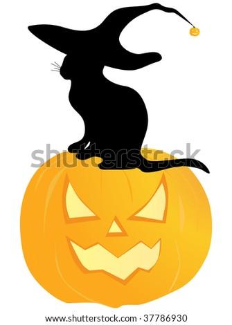 halloween cat - stock vector