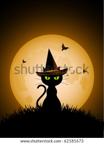 Halloween Cat Wearing Witches Hat Against A Full Moon With Vampire Bats