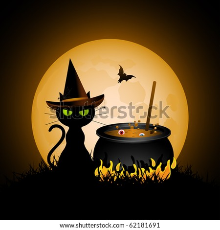 Halloween cat wearing witches hat and bubbling cauldron - stock vector