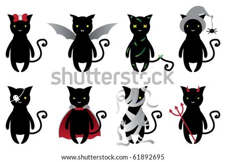 Halloween cats set - stock vector