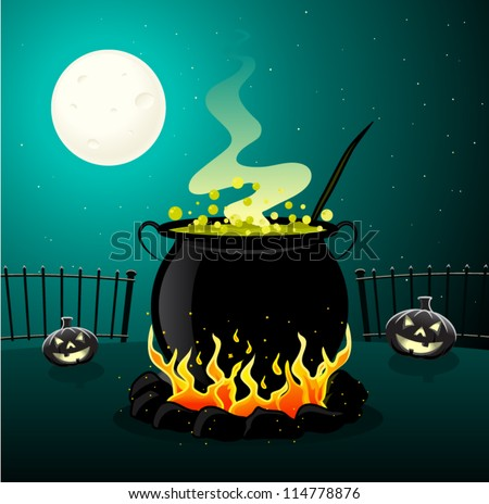 Halloween Cauldron - stock vector