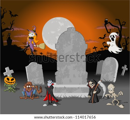 Halloween cemetery background with tombs and funny cartoon classic monster characters - stock vector
