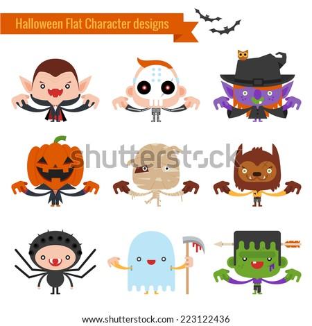 Halloween character icons flat design - stock vector