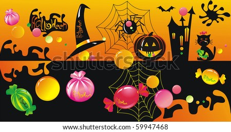 Halloween character set with sweets - stock vector