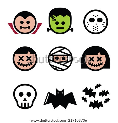 Halloween characters - Dracula, monster, mummy icons  - stock vector