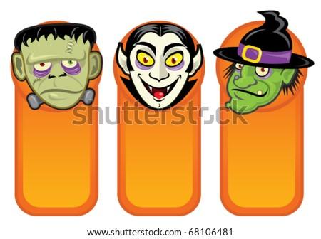 Halloween Characters in Vertical Banners - stock vector