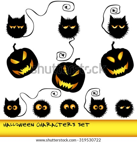 Halloween characters set. unusual fluffy cats with long devil tails and funny emotions - stock vector