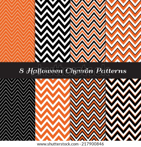 Halloween Chevron in Orange, Black and White Thick and Thin Patterns. Halloween Party Invitation Card Backgrounds. Pattern Swatches included and made with Global Colors. - stock vector