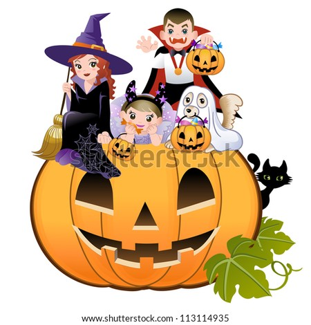Halloween children wearing costume on huge jack-o-lantern, white background
