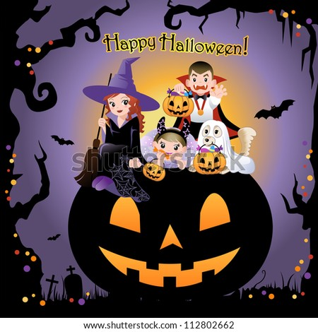 Halloween children wearing costume on the huge jack-o-lantern, with greeting text. invitation card