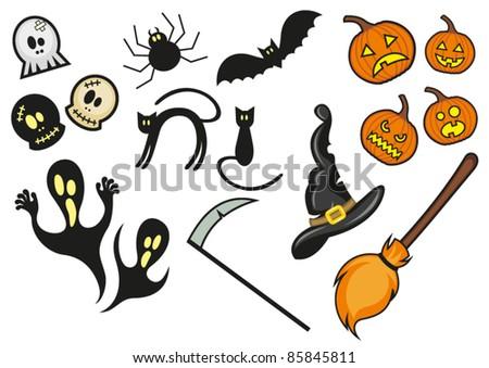 halloween collection vector - stock vector