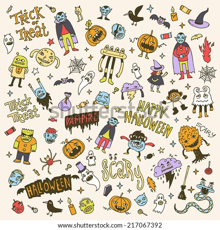 Halloween colorful creatures doodle mega set. Hand drawn vector illustration. - stock vector
