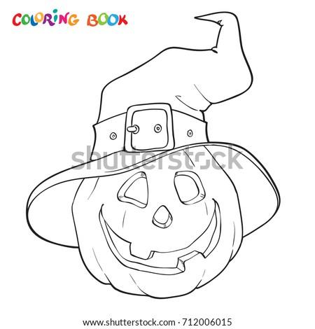 Halloween Coloring Book Page Pumpkin Hat Stock Vector 712006015