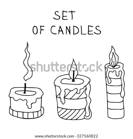 Halloween Coloring book. Vector illustration isolated on white background. Vector candles with fire. Hand drawn cute symbol - stock vector