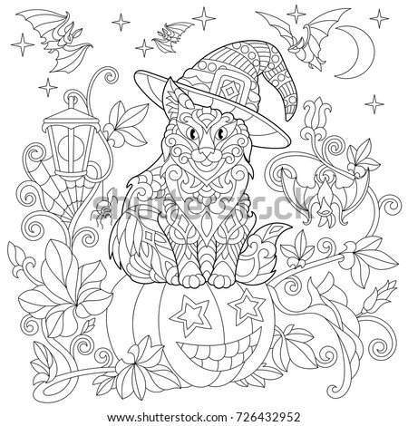 Halloween Coloring Page Cat Hat Halloween Stock Photo (Photo, Vector ...