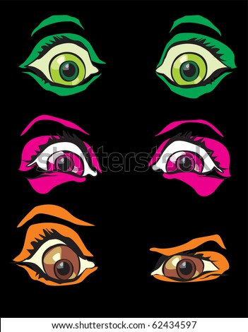 Halloween costume monster scary eyes from horror in night - stock vector