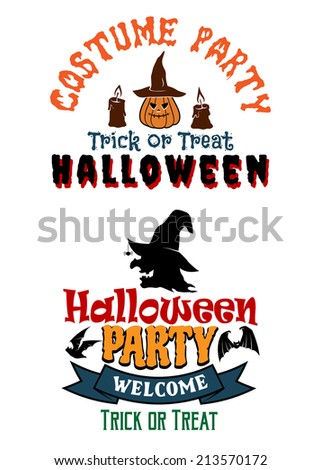 Halloween costume party banners with yellow pumpkins, witch, candles, black bats and text Truck or treat, Halloween, Welcome. For Halloween design  - stock vector