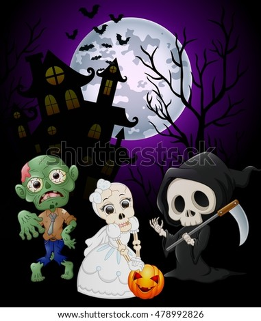 Halloween costumes grim reaper with skull bride and zombie on haunted castle background .vector illustration