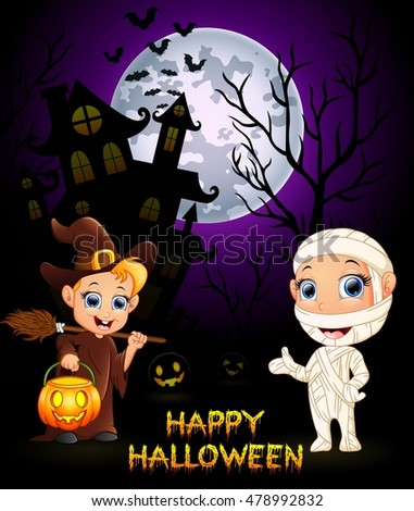 Halloween costumes mummy and little witch .vector illustration