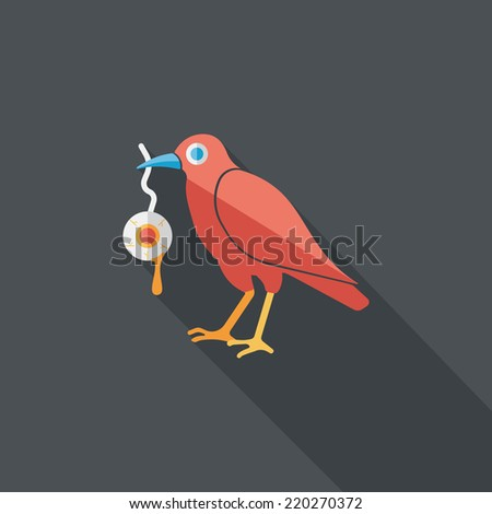 Halloween crow and eyeball flat icon with long shadow,eps10 - stock vector
