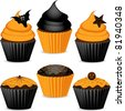 Halloween cupcakes in orange and black with cobweb, spider, star and bats - stock vector