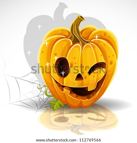 Halloween cut out pumpkin winking Jack - stock vector