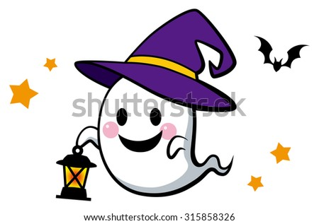 Halloween / Cute ghost with lantern. / color
